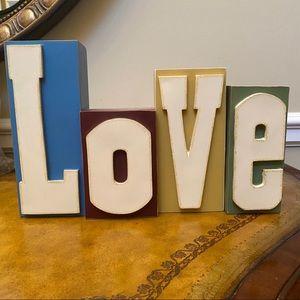 Letter Blocks Spelling LOVE